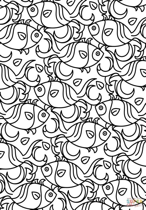 Fish Pattern Coloring Page Free Printable Coloring Pages