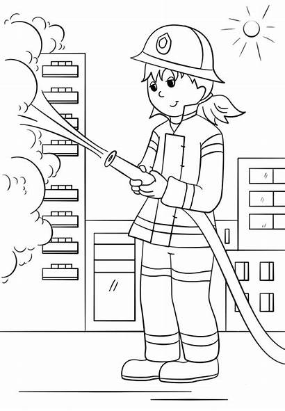 Firefighter Coloring Fire Pages Firefighters Fighter Fireman