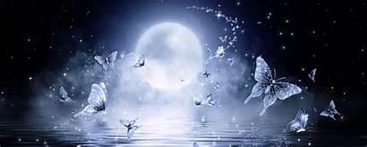 Butterflies Moon Stars Glitter Ultrawide Monitor
