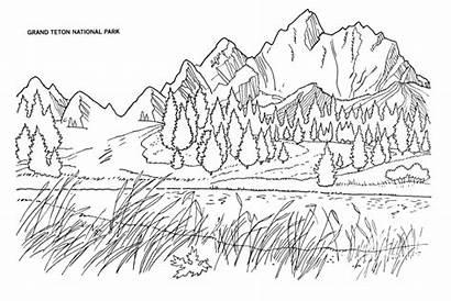 Coloring National Park Teton Grand Glacier Mountain