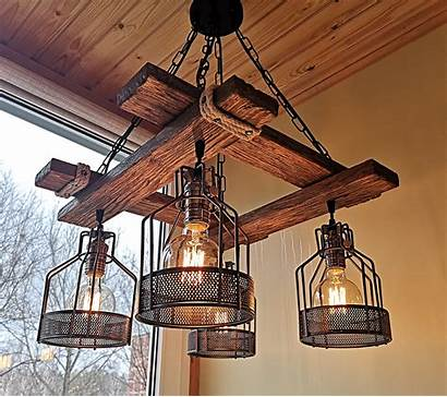 Rustic Farmhouse Hanging Fixture Wood Lighting Pendant