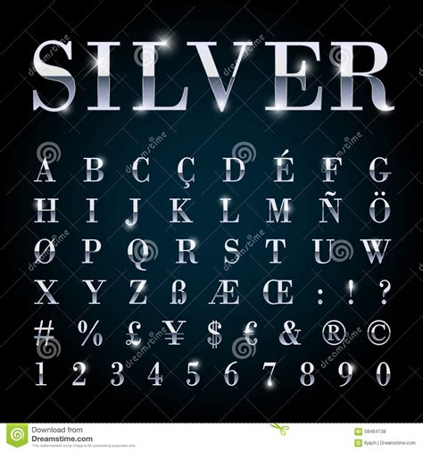 silver metal font set letters numbers currency symbols