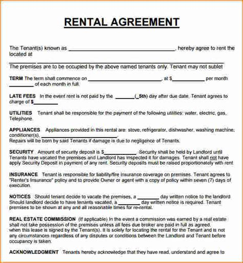 lease a 8 rental house lease agreement printable receipt