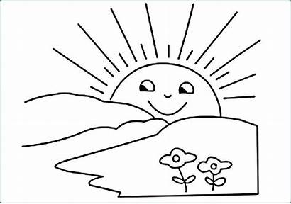 Sun Coloring Pages Printable Sunrise Rising Drawing