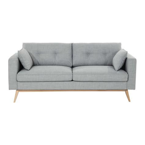 canaper lit canapé 3 places en tissu gris clair maisons du monde