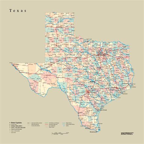 tackamap texas state wall map cut  style