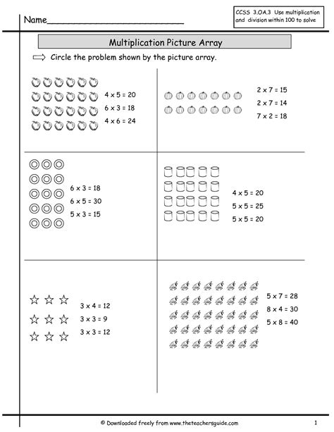 Multiplication Array Worksheets From The Teacher's Guide