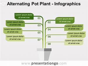 Alternating Pot Plant Powerpoint Diagram