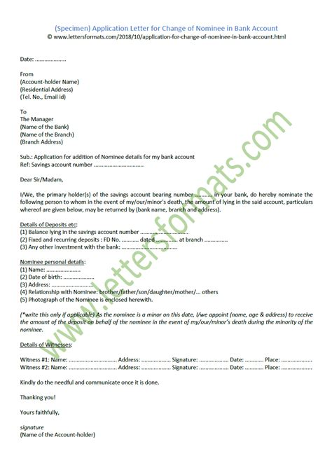 bank account signature change letter notifying bank