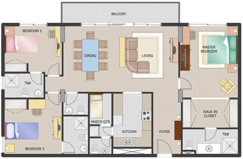 3 Bedroom House Floor Plans by Floor Plans Solution Conceptdraw
