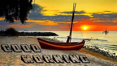 Morning Sunset Beach Boat Wallpapers Desktop Wishes