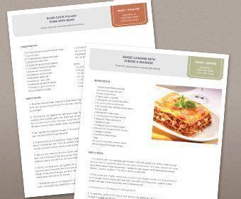 cookbook template    printable
