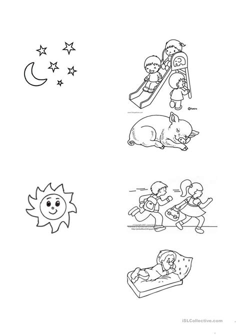 night  day worksheet  esl printable worksheets   teachers
