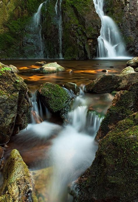 small cascading waterfall  vancouver island canada