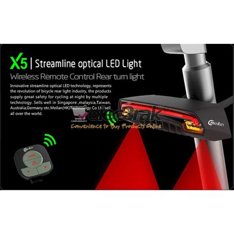 meilan x5 bicycle rear brake turn signal light led laser wireless remote