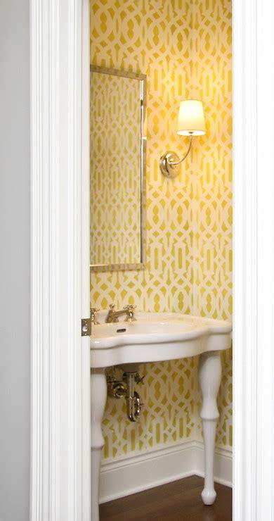 yellow powder room  cimarron pedestal sink