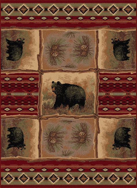 Wildlife Rugs: 8 x 11 Nature Bear and Pinecone Rug