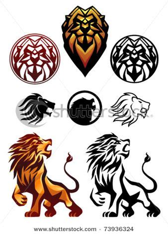 stylized lion heads    cool   tattoo