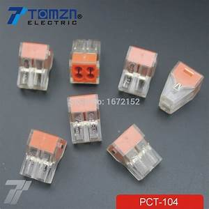 100pcs Pct 104 Push Wire Wiring Connector For Junction Box 4 Pin Conductor Terminal Block