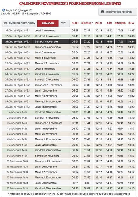 horaire de priere chelles horaire de pri 232 re votre calendrier du mois de novembre