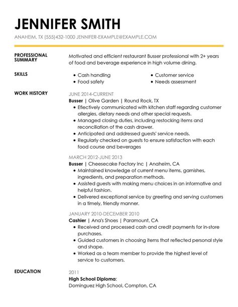 Busser Resume by 10 Server Bullet Points Resume Mla Format