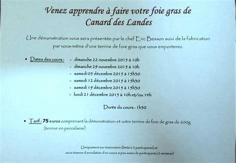 cours de cuisine landes cours de cuisine 2015 le foie gras de canard des landes
