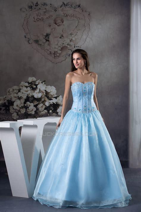 ball gown floor length beading sweetheart blue promformal
