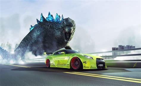 Godzilla Gtr R35 Wallpaper Hd by Nissan Gtr R35 Liberty Walk Green Godzilla Speed Hd Wallpaper