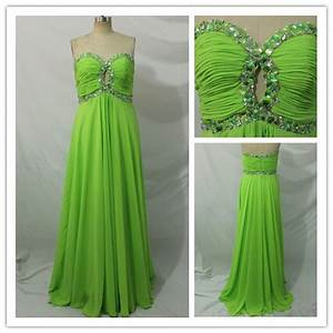 2015 Cheap y Beaded Floor Length Lime Green Prom
