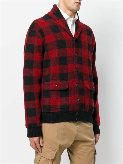 Lyst - Polo Ralph Lauren Checkered Knit Hooded Jacket in Red for Men