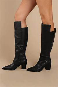 tania leather knee high boots in black 118 tobi us