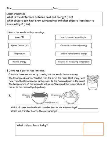explore science worksheets  heat transfer  kitty