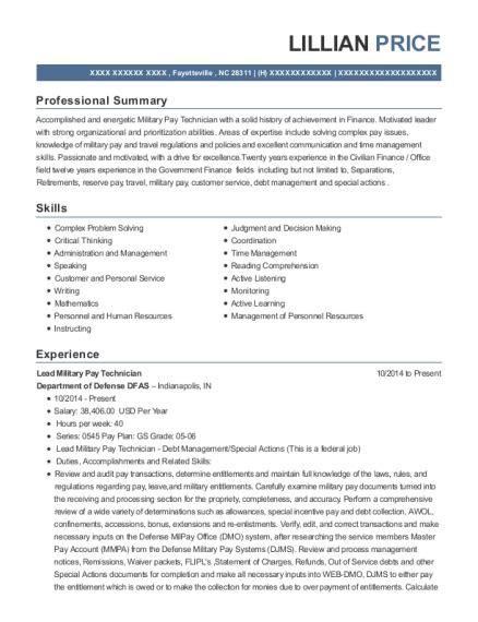 military pay technician resumes resumehelp