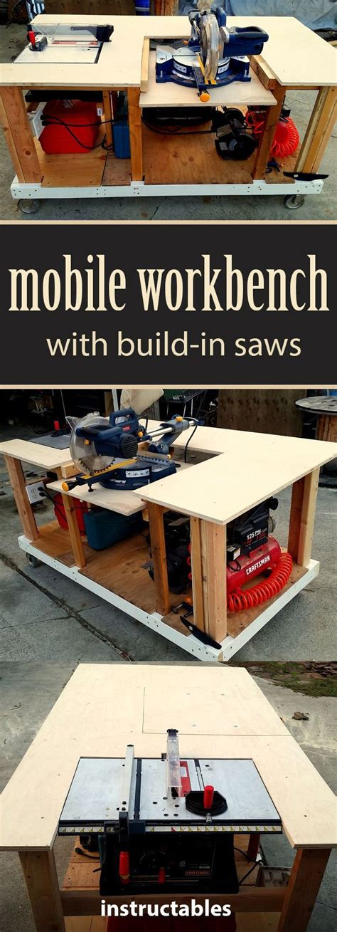 mobile workbench  built  table miter saws mobile