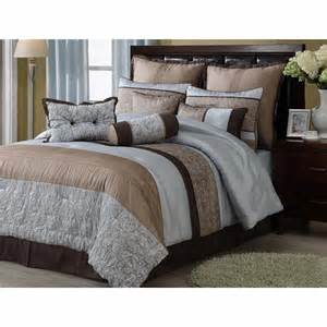 8pc madison blue brown floral and striped design cotton blend comforter set king ebay