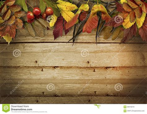 autumn leaves border  vintage wooden background stock
