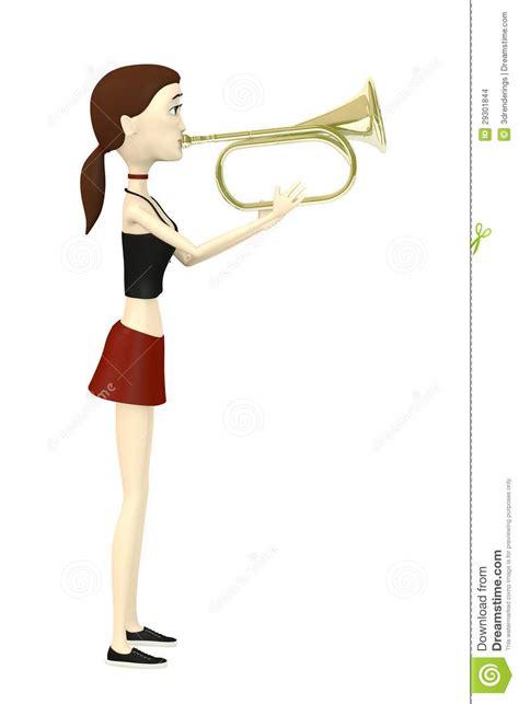 cartoon trumpet playing brass het fumetto gioca spelen tromba beeldverhaal ottone ragazza meisje sulla che
