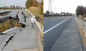 japan tsunami  earthquake road repaired  days
