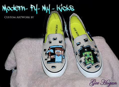 Custom Painted Minecraft Shoes By Modernfymykicks On Etsy
