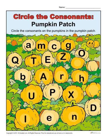 halloween pumpkin patch activity circle  consonants