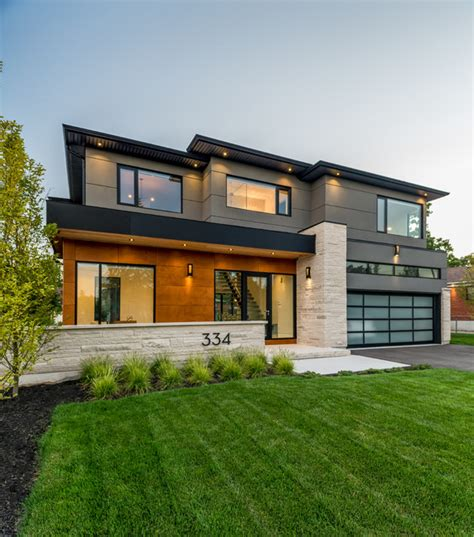 Southview Modern Home  Contemporary  Exterior  Toronto. Green Shutters. White Kitchen Island. Dark Gray Bathroom. 1920 Bathroom. Screen Porch Ideas. Dons Appliance. Mid Century Modern Bedside Tables. Industrial Rustic Lighting