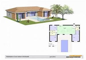 Plan Maison U : modele maison ossature bois plain pied ps61 jornalagora ~ Dallasstarsshop.com Idées de Décoration