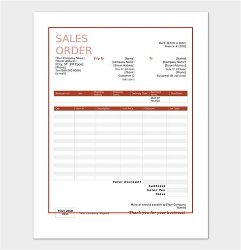sales order template  formats examples word excel
