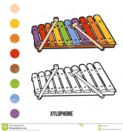 coloring book musical instruments xylophone stock