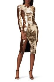 Dress The Population Gold Sequin Natalie Sheath | Dress ...