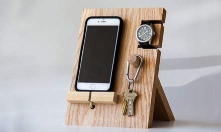 wooden valet docking station groupon goods
