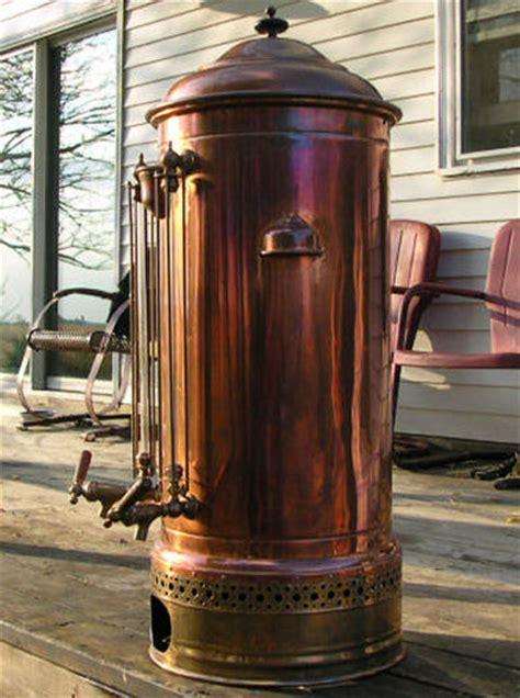 riches   antique copper brass coffee urn