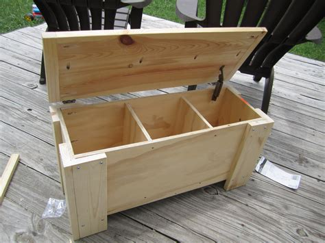 diy outdoor wood storage box  lid  leg  bench