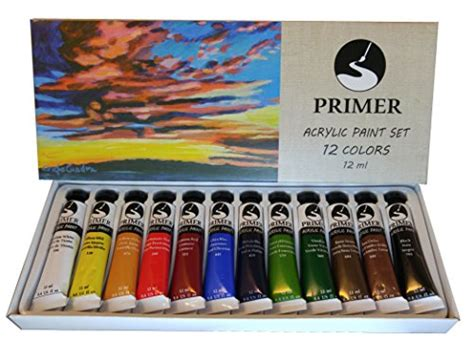 12 color acrylic paint set by primer bold vibrant hues