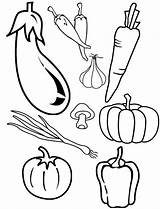 Coloring Vegetables Cornucopia Types Fruits sketch template